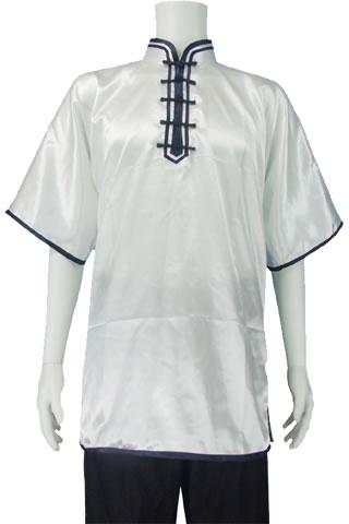 Short-sleeve Mandarin Collar Pullover Duangua (Satin)