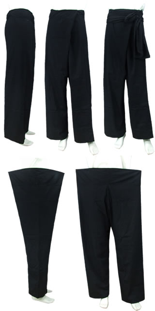 Archaic Style Mandarin Pants w/ Sash (Cotton Plain)