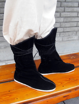 Vintage Style Mid Cloth Boots w/ Shoelaces
