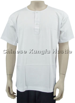 Short-sleeve 3-button Kungfu Undershirt
