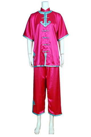 Short-sleeve Mandarin Collar Applique Duangua (Satin)