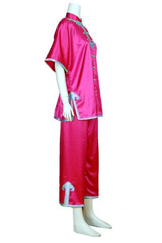 Short-sleeve Mandarin Collar Applique Duangua (Satin)