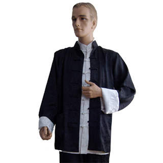 Mandarin Collar Shirt Jacket (Cotton Linen)
