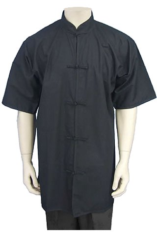 Short-sleeve Mandarin Collar Duangua (Cotton Twill)
