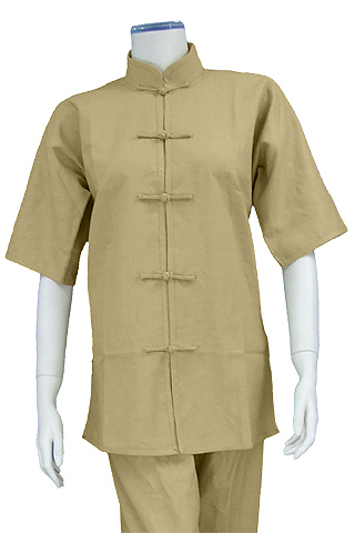 Short-sleeve Mandarin Collar Duangua (Cotton Linen)