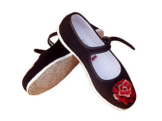 Chinese Handmade Embroidery Shoes with Red Peony